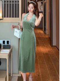 Sexy Wholesale Halter V-neck Backless Slim Velvet Dress