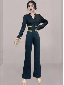 Handsome Lady V-neck High Waist Slim Long Jumpsuit