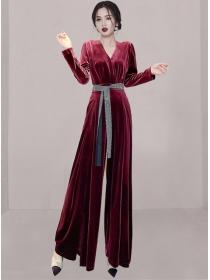 Fashion Women 2 Colors Tie Waist Wide-leg Velvet Long Jumpsuit