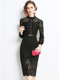 Europe Grace Belt Waist Lace Flowers Bodycon Dress