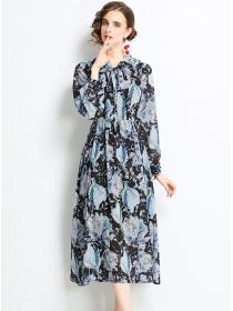 Wholesale Europe Tie Collar High Waist Flowers Maxi Dress