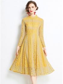 Charming Europe High Waist Lace Flowers A-line Dress