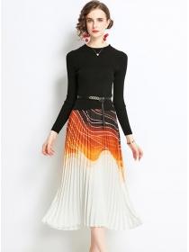 Retro Fashion Knit Tops Splicing Pleated Long Dress