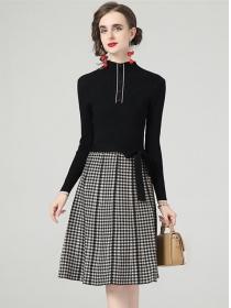 Autumn Wholesale Tie Waist Plaids Knitting A-line Dress