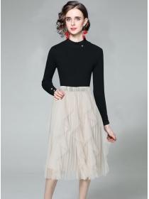 Europe Stylish Knitting Tops with Flouncing Gauze Skirt