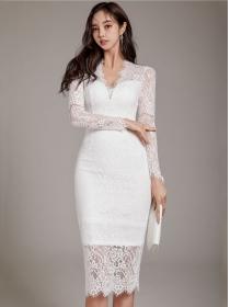 Elegant OL 2 Colors V-neck Lace Slim Long Sleeve Dress