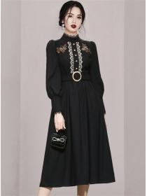Retro Fashion High Waist Lace Splicing Puff Sleeve Long Dress