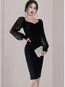 Wholesale Korea Square Collar Puff Sleeve Bodycon Dress