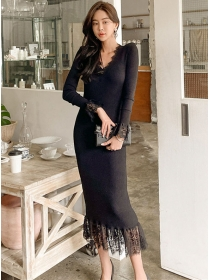 Fashion Korea V-neck Lace Fishtail Slim Knitting Long Dress