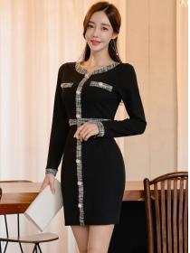Fashion Korea Single-breasted Round Neck Slim Dress