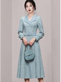 Quality Fashion Tailored Collar Belt Waist Tweed Dress