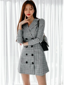 Autumn New Tailored Collar Double-breasted Plaids Dress