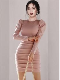 Wholesale Korea Round Neck Knit Splicing Puff Sleeve Dress
