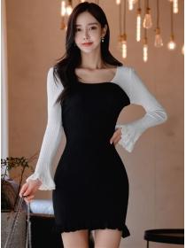 Wholesale Korea Color Block Flare Sleeve Slim Knitting Dress