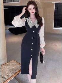 Fashion Retro Color Block Lace Doll Collar Bodycon Dress