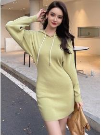 Autumn Fashion 2 Colors Hooded Slim Long Sleeve Dress