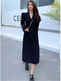 Brand Fashion Double-breasted Tailored Collar Coat Dress
