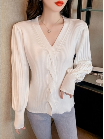 Wholesale 2 Colors V-neck Twisted Puff Sleeve Knit Tops