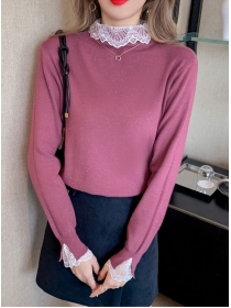 Fashion Autumn 3 Colors Lace Collar Knitting T-shirt