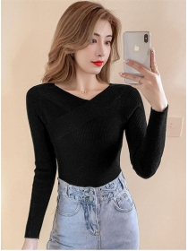 All Match 4 Colors Boat Neck Knitting Long Sleeve T-shirt