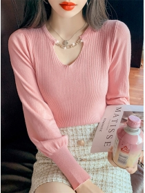 Wholesale Autumn 4 Colors Chain Collar Puff Sleeve Knit Tops