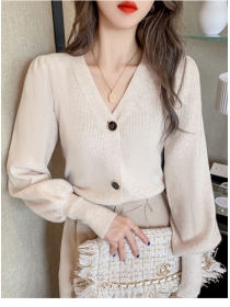 Fashion Lady 3 Colors Buttons V-neck Puff Sleeve Knit T-shirt