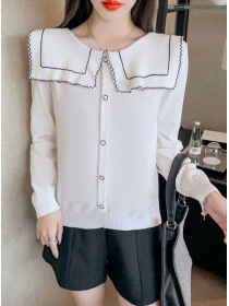 Wholesale 2 Colors Doll Collar Knitting Long Sleeve T-shirt