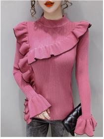 Fashion 4 Colors Flouncing Flare Sleeve Slim Knitting T-shirt