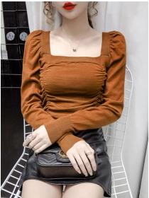 Korea New 3 Colors Square Collar Pleated Knitting T-shirt