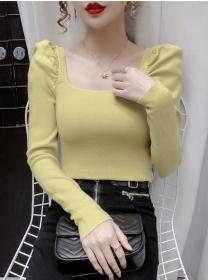 Korea Autumn 4 Colors Square Collar Puff Sleeve Knit Tops