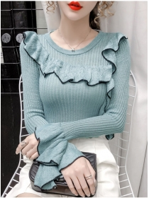 Grace Fashion 4 Colors Flouncing Long Sleeve Knitting T-shirt