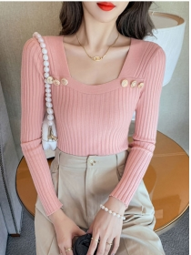 Pretty Women 3 Colors Buttons Square Collar Knitting T-shirt