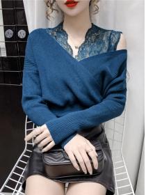 Retro Fashion 3 Colors Lace V-neck Puff Sleeve Knitting T-shirt