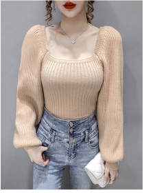 Modern Lady 3 Colors Square Collar Puff Sleeve Knit T-shirt