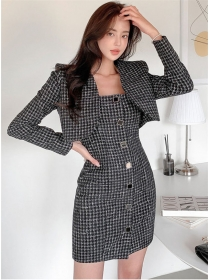 Quality Fashion Short Jacket with Single-breasted Tweed Dress