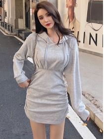 Preppy Fashion Hooded Pleated Long Sleeve Cotton Dress