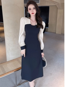 Wholesale Korea Color Block Long Sleeve A-line Dress