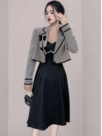 Modern Lady Plaids Jacket with Beads Straps A-line Dress