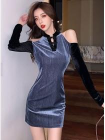 Grace Charming Off Shoulder V-neck Slim Velvet Dress