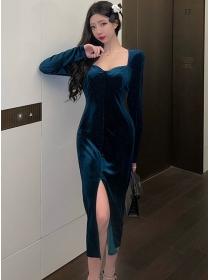 Retro Wholesale Square Collar Split Bodycon Velvet Dress