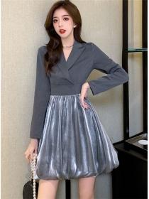 Pretty OL 2 Colors Tailored Collar Gauze Fluffy Dress
