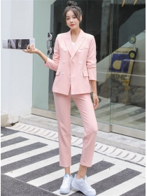 4 Colors Double-breasted Tailored Collar Slim Long Suits