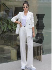 Brand Fashion 2 Colors Loosen Jacket with Wide-leg Long Pants