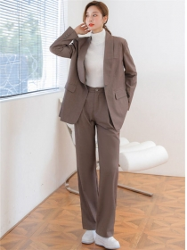 Fashion Women Loosen Jacket with Wide-leg Long Pants