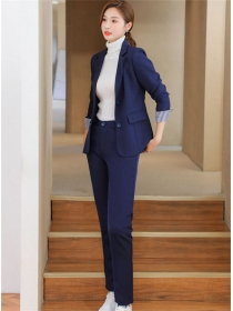 Korea OL 2 Colors Tailored Collar Two Pieces Long Suits