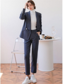 Quality Fashion Shawl Collar Woolen Jacket with Long Pants