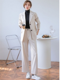Modern Lady 2 Colors Tailored Collar Loosen Jacket with Pants