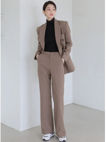 Fashion Women Tailored Collar Double-breasted Long Suits