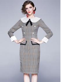 Grace Women Bowknot Doll Collar Plaids Slim Dress