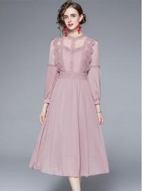 Europe Stylish Lace Splicing High Waist Chiffon Long Dress